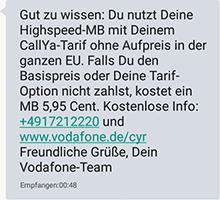 Vodafone Callya Internet im Ausland nutzen