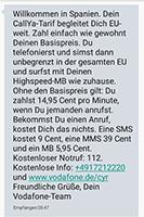 Vodafone Callya Kosten in Spanien