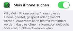 Mein iPhone suchen Funktion im Handy aktivieren