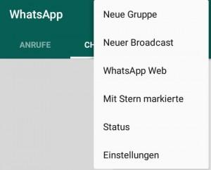 WhatsApp Web über das Menü erreichen